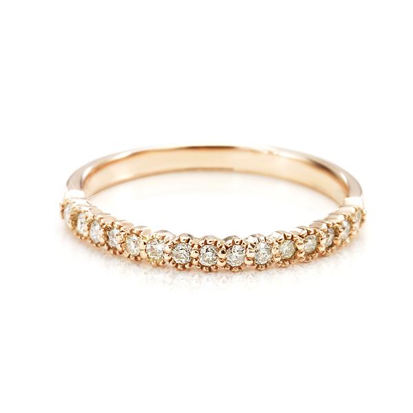 K10アンティークピンクゴールドダイヤモンドリング