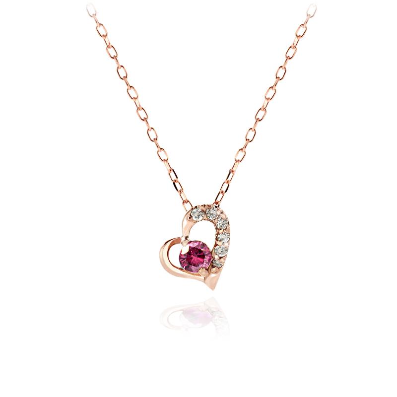 K18ダイヤモンドハートネックレス