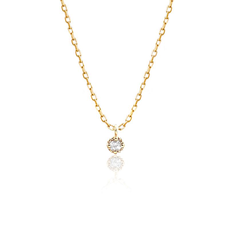 K10イエローゴールド1粒ダイヤモンドネックレス