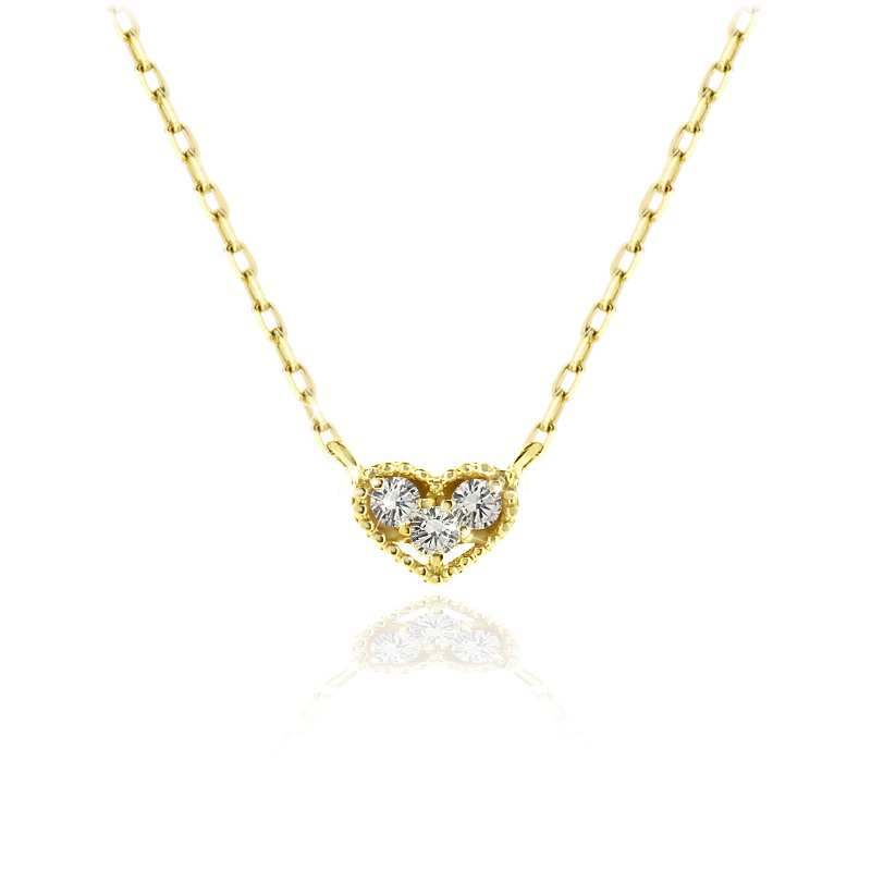 K18クラシカルダイヤモンドハートネックレス