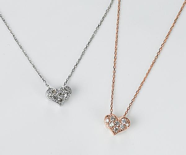 K10ダイヤモンドハートネックレス