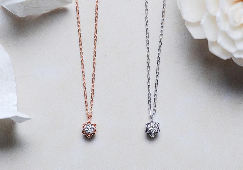 ハート&キューピッド K10 一粒ダイヤモンドネックレス