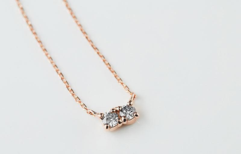 K10 ツインダイヤモンドネックレス