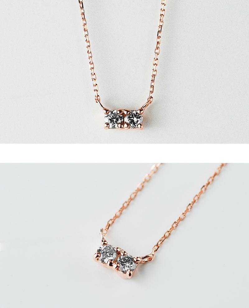 K10 ツインダイヤモンドネックレス 詳細