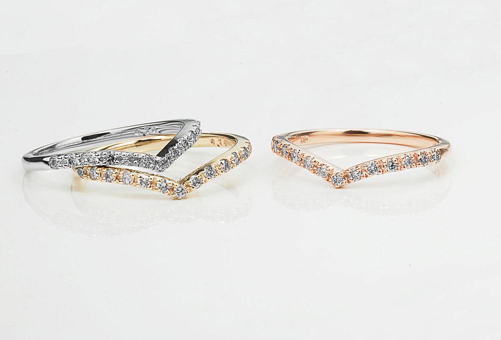 K10 ダイヤモンド Vラインピンキーリング カラーバリエーション