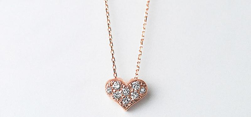 K10ダイヤモンドハートネックレス  詳細