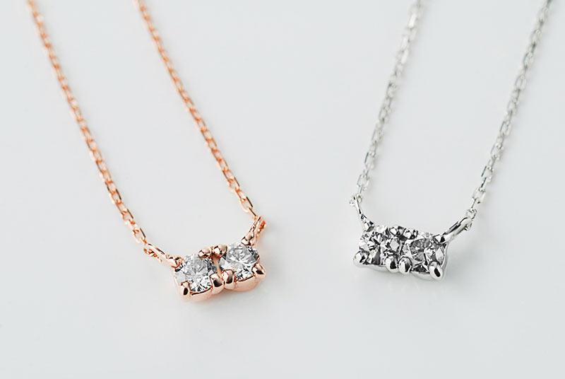 K10 ツインダイヤモンドネックレス カラバリ