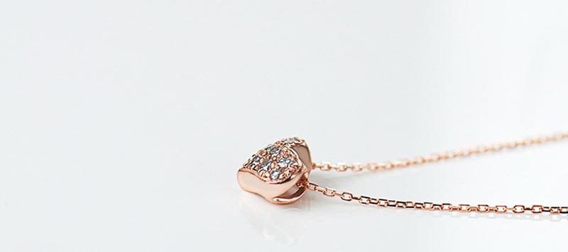 K10ダイヤモンドハートネックレス  横
