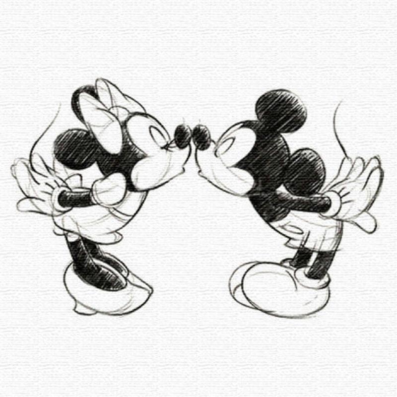 ミッキーマウス&ミニーマウスのファブリックパネル