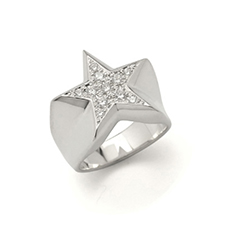 IVXLCDM STAR PAVES PINKY RING SILVER