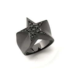 STAR PAVES PINKY RING MATTE BLACK