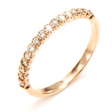 【送料無料】ピンキーリングとしても素敵!K10ピンクゴールドダイヤモンドリング