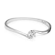 【本格ダイヤの輝き!】指元に華やかさをプラスするジェムケリー Plus-プリュス-ホワイトゴールドシンプルダイヤリング